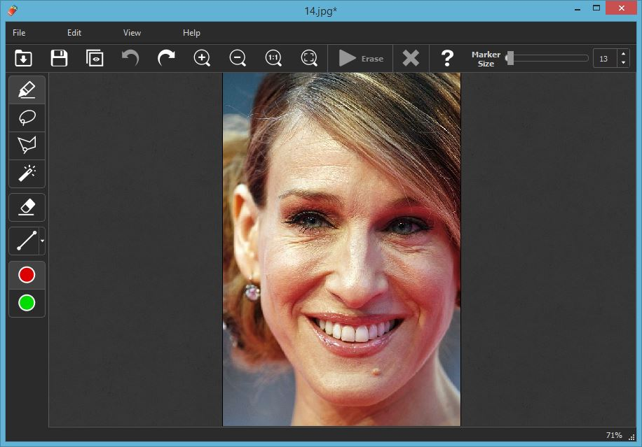 Open an image you want to retouch facial wrinkles.