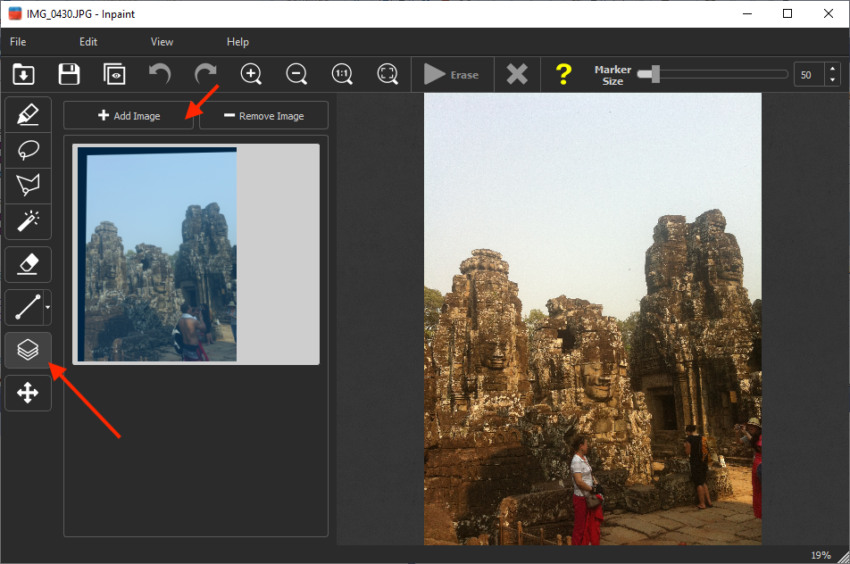 Step 1: load the picture into Inpaint. Don't worry that there are people you want to remove!